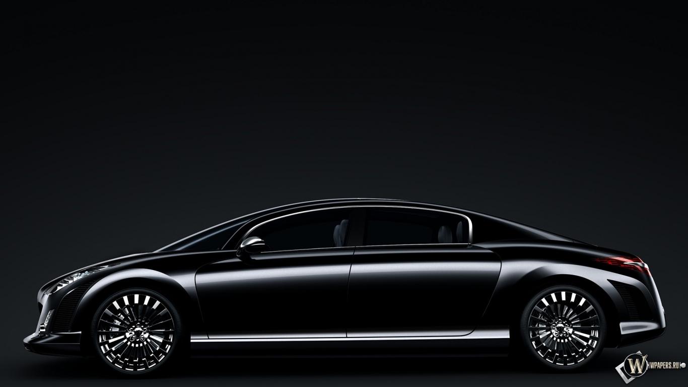 Black чёрное авто peugeot 908 1366x768 картинки