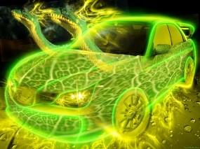 Обои Неоновый Авто: Неон, Зелёный, Желтый, Subaru, Тачка, Змеи, 3D Авто
