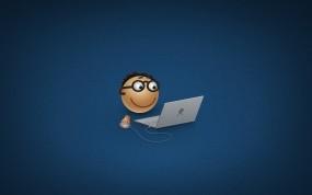 Обои Человечек с ноутбуком: Смайл, Ноутбук, человечек, Компьютерные