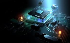 Обои Установка процессора роботом: Робот, Компьютер, Материнская плата, Процессор, Компьютерные-Фэнтези