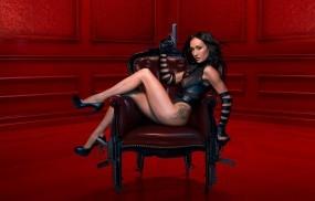 Обои NikitA: Кресло, Татуировка, Оружие, Пистолет, Автомат, NikitA, Фильмы
