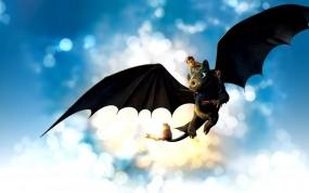 Обои Как приручить дракона: Небо, Дракон, Блики, Мультфильмы