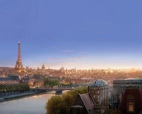 Обои Рататуй: Вечер, Небо, Башня, Париж, Мультфильмы