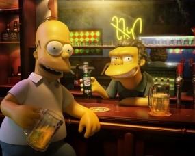 Обои Симпсоны в 3D: Симпсоны, Гомер, Пиво, Бар, Мультфильмы
