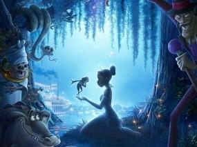 Обои Принцесса и лягушка: Река, Ночь, Принцесса, Мультфильм, Лягушка, Сказка, Мультфильмы