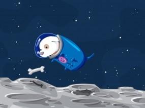 Обои Собака на луне: Космос, Луна, Собака, Мультфильмы