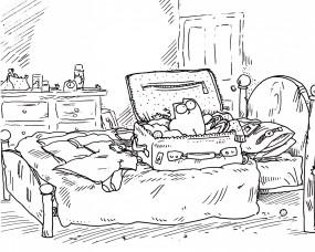 Обои Кот Саймона: Кот, Кровать, Мультфильм, Чемодан, Мультфильмы