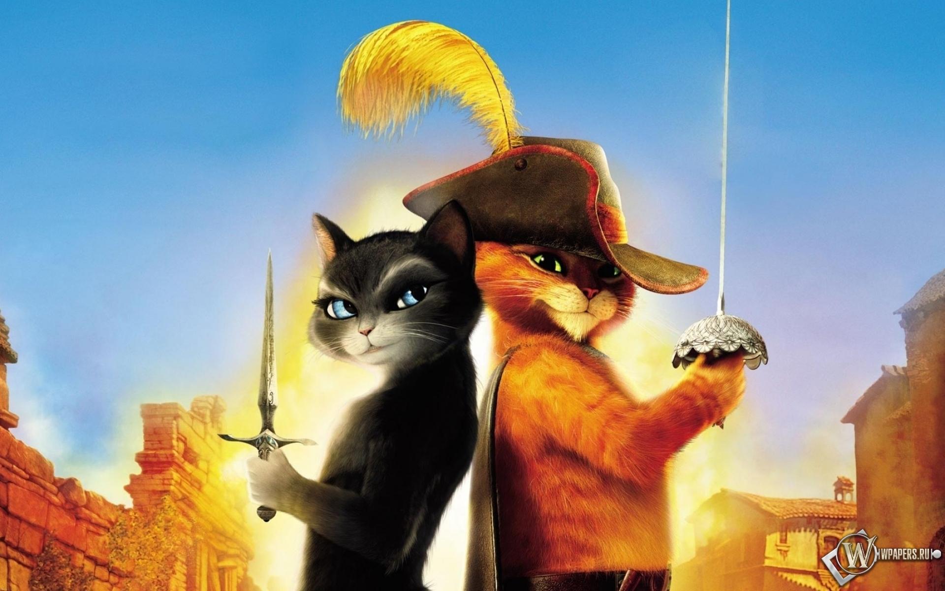 Обои кот в сапогах кот мультфильм