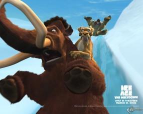 Обои Испуганый мамаонт: Ледниковый период, Мультфильмы