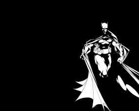 Обои Бетмен: Ч/б, Бэтмен, Чёрный фон, Герой, Мультфильмы