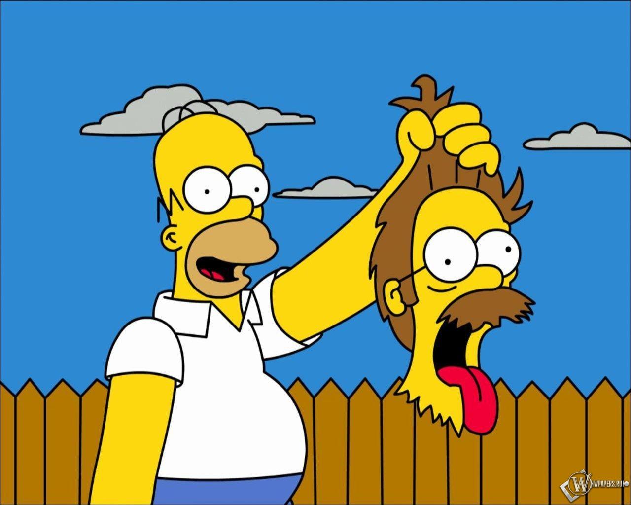 Гомер с головой Фландерса 1280x1024