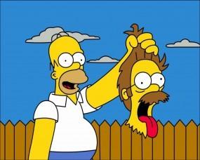 Обои Гомер с головой Фландерса: Симпсоны, Гомер, Голова, Фландерс, Мультфильмы