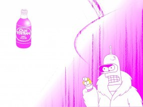 Обои Гламурный Бендер: Розовый, Гламур, Бендер, Футурама, Мультфильмы