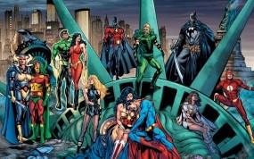 Обои Супергерои: Молния, Бэтмен, Комиксы, Супергерои, Зеленый Фонарь, Лига Справедливости, Мультфильмы