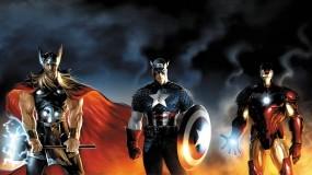 Обои Герои: Железный человек, Капитан Америка, Тор, Мультфильмы