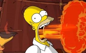 Обои Симпсоны: Взрыв, Гомер, Отрыжка, Мультфильмы