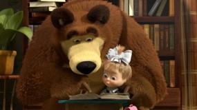 Обои Маша и Медведь: Мультфильм, Маша и Медведь, Урок, Мультфильмы