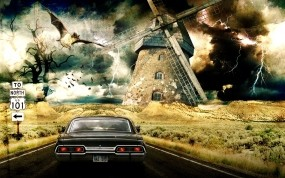 Обои Supernatural: Машина, Мельница, Сериал, Сериалы