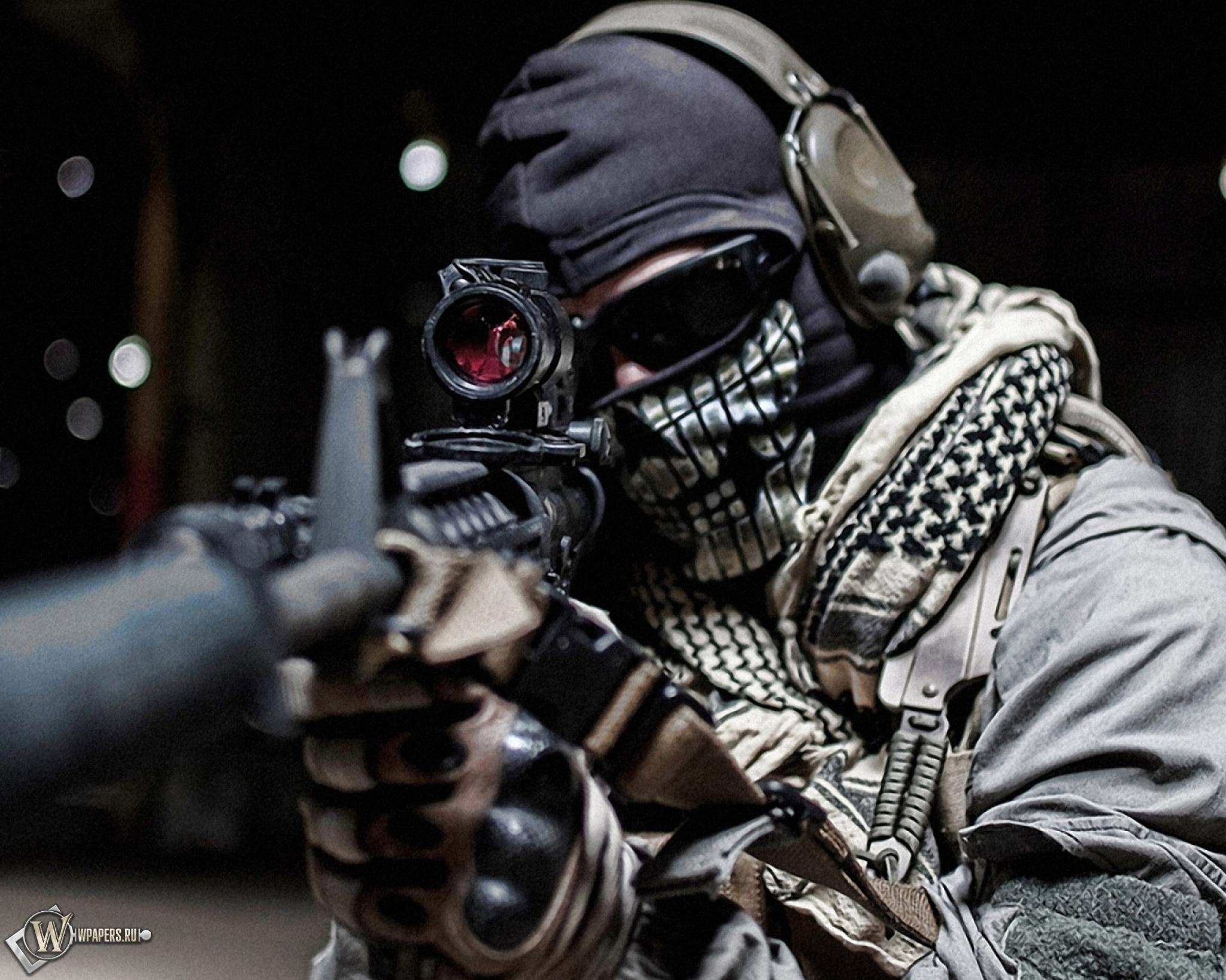 Обои modern warfare ghost автомат маска 2048x1638