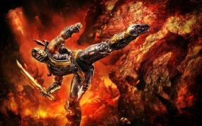 Обои Скорпион из Mortal Kombat: Огонь, Меч, Скорпион, Mortal Kombat, МК, Mortal Kombat