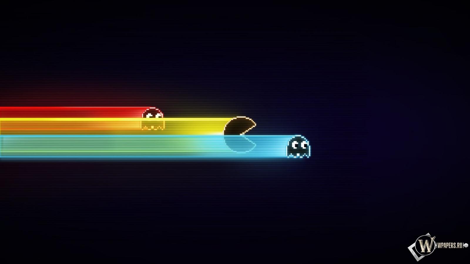 Скачать обои Pacman (Минимализм, Цвет, Полосы, Pac-Man ...