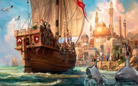 Обои Anno 1701: Море, Корабль, Люди, Anno 1701, Другие игры