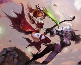 Обои World of Warcraft: Бой, Сражение, World of Warcraft, Эльфийки, Другие игры