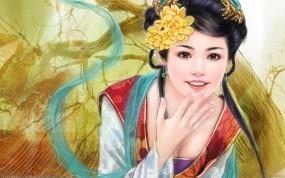 Обои Японская красавица: Улыбка, Девушка, Цветок, Рисунок, Девушки