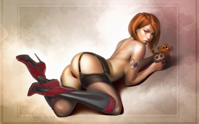 Рыжая с игрушками