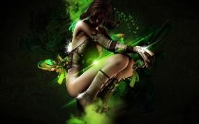 Обои 3D девушка на зелёном фоне: Абстракция, Девушка, Фон, 3D Девушки