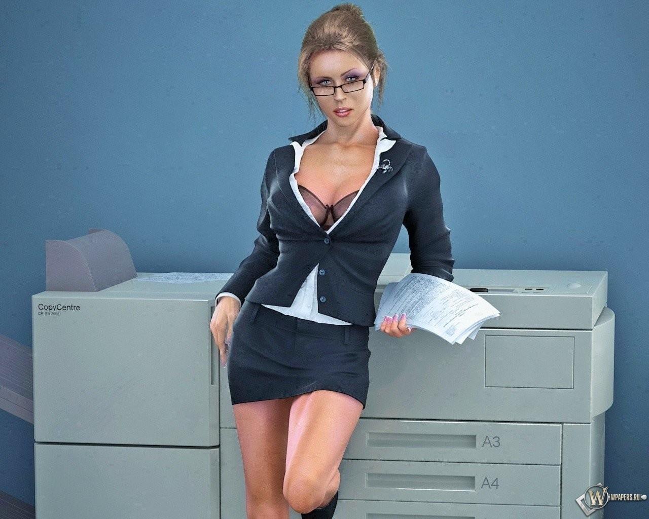 3D соблазнительная секретарша 1280x1024