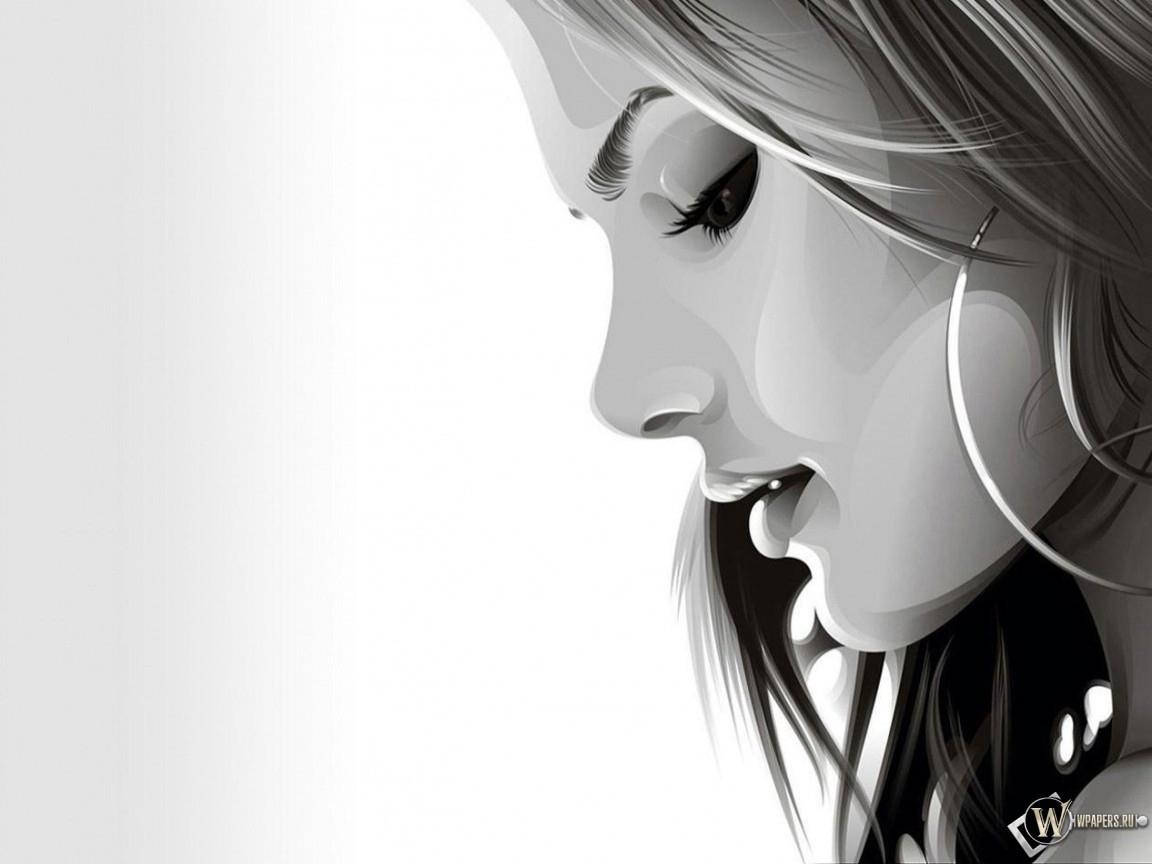 Задумчивая девушка в векторе 1152x864