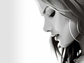 Обои Задумчивая девушка в векторе: Губки, Рисованная красавица, 3D Девушки