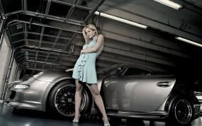 Обои Дама у Porsche: Авто с девушками, Porsche, Дама, Девушки