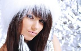 Обои Снегурочка: Зима, Девушка, Губы, Снегурочка, Christmas girl, Девушки