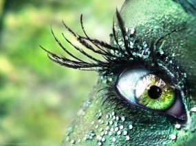 Обои Прекрасный глаз: Девушка, Глаз, Зелёный, стразы, Глаза