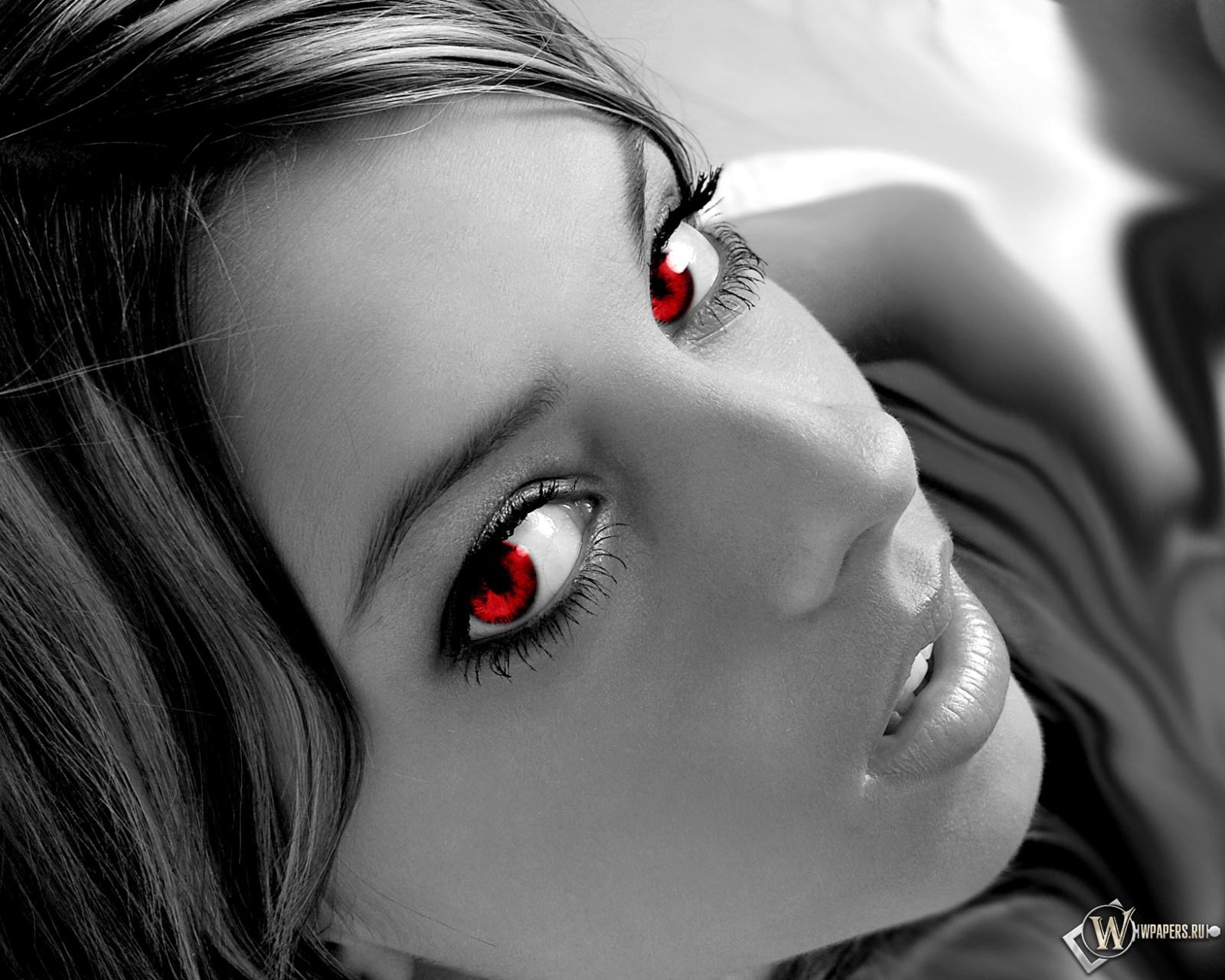 Девушка с красными зрачками 1600x1280