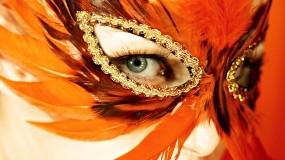 Обои Маска из перьев: Перья, Глаз, Маска, Глаза