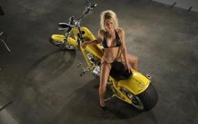 Обои Байк: Блондинка, Мотоцикл, Татуировка, Байк, Мотоциклы