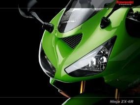 Обои морда KAWASAKI: Фары, Мотоцикл, Ninja ZX-6R, Мотоциклы
