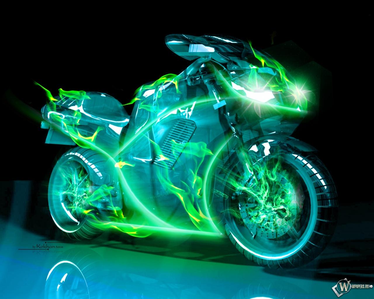 Обои неоновый мотоцикл на рабочий
