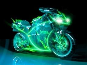 Обои Неоновый Мотоцикл: Неон, Мотоцикл, Мотоциклы