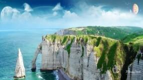 Обои Корабль в заливе: Планета, Небо, Залив, Природа