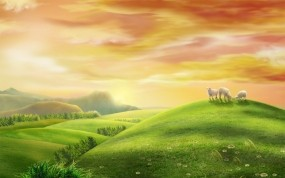 Обои Летний пейзаж: Восход, Лето, Утро, Пастбище, Луг, простор, Природа