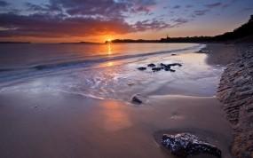 Обои Auckland, Новая Зеландия: Пляж, Закат, Небо, Новая Зеландия, Природа