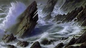 Обои Море-шторм: Волны, Море, Скалы, Берег, Картина, Шторм, Природа