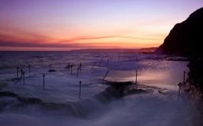 Обои Сиреневый закат: Волны, Море, Вечер, Природа