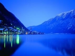 Обои Night Time: Огни, Ночь, Озеро, Природа