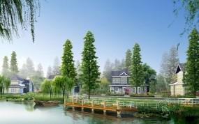 Обои Живописная река в Китае: Река, Причал, Берег, Городок, Природа