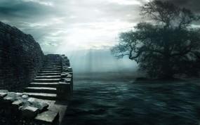 Обои Мрачное море: Облака, Свет, Вода, Камни, Дерево, Лестница, Природа